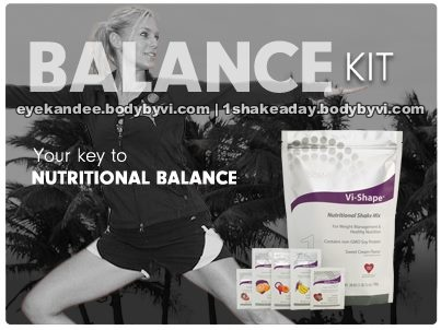 "The ""Balance Kit"" is designed to help you begin your journey by giving your body good nutritional balance. This kit contains 30 servings of balanced nutrition with our Vi-Shape™ Nutritional Shake Mix for once-a-day balanced nutrition. The kit includes an assortment of our Health Flavors, to add flavor variety, and added health benefits to your shake    http://eyekandee.myvi.net"