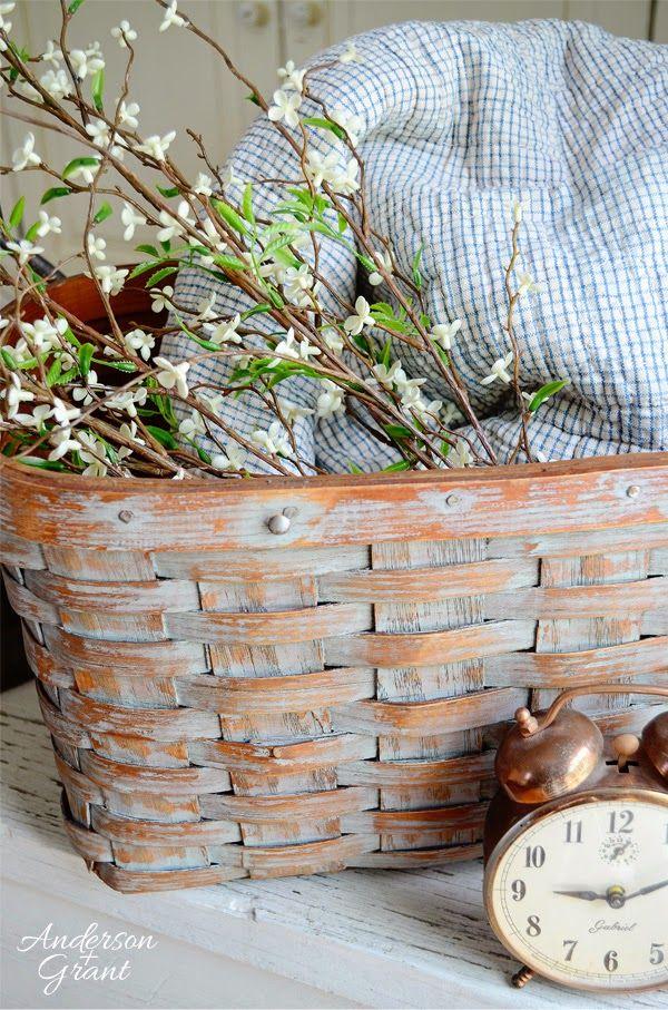Transforming a broken thrift store picnic basket into a useful decorative storage basket   www.andersonandgrant.com
