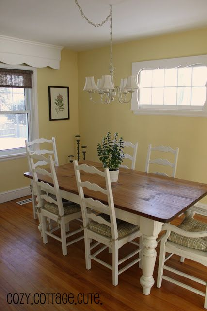 farm table, ladder back chairs Just what I want except I want the breadboard on the end of the table.