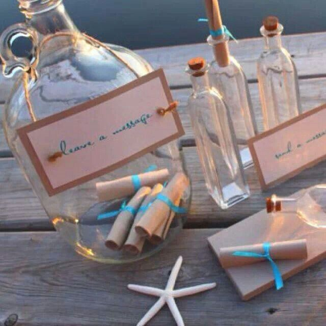"Wedding Message Book Ideas: ""Message-in-a-bottle"" Guest Book For Beach Themed Weddings"