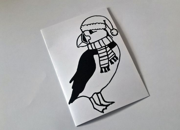 ©Helen J Taylor  Puffin Christmas card - Screen printed