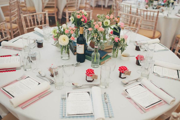 Vintage Wedding centerpieces. Love the jam as wedding favours - homemade for a lovely personal touch?
