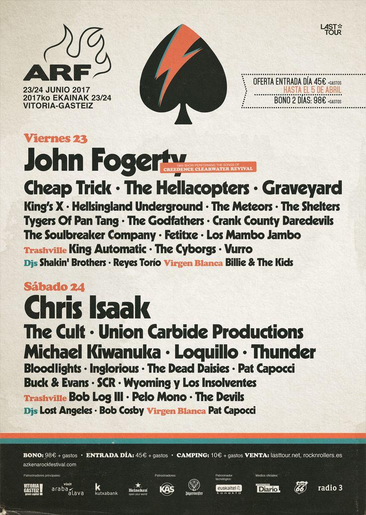 Bono 2 días Azkena Rock Festival 17 John Fogerty, Chris Isaak, The Cult, Graveyard, Loquillo, Thunder... Hay muchos motivos para no perderse la edición 2017 de Azkena Rock Festival, una de las citas musicales más interesantes del verano. Durante dos días, Vitoria-Gasteiz se llenará de buen rock, como lo ha hecho desde 2002. http://www.kmon.info/es/musica/azkena-rock-festival-17  🎸 💃 🎷 🎻   🎭   www.kmon.info 🚩