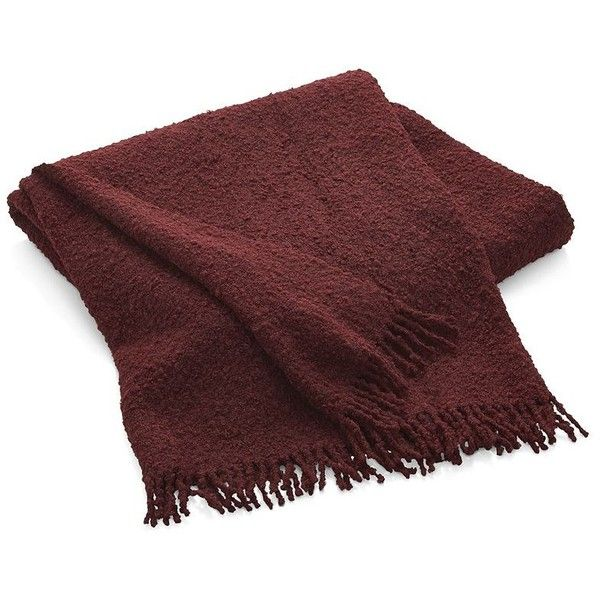 Crate & Barrel Bailey Wine Red Throw featuring polyvore, home, bed & bath, bedding, blankets, crate and barrel bedding, fringe blanket, maroon throw blanket, maroon bedding and fringed throws