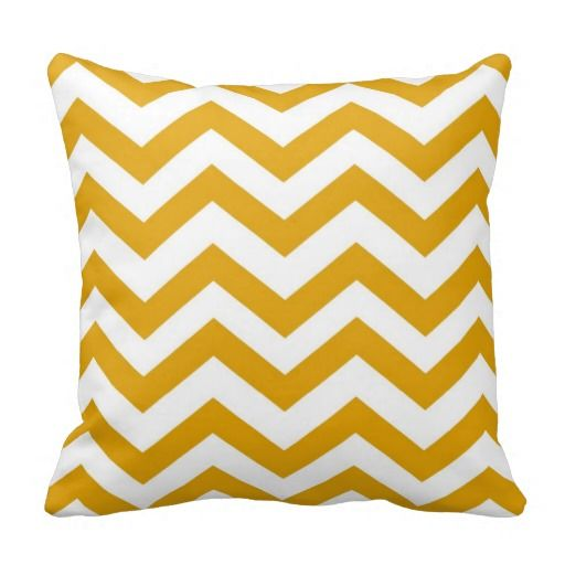 Mustard Yellow and White Chevron Pillow....I seem to have a cushion crush this season!
