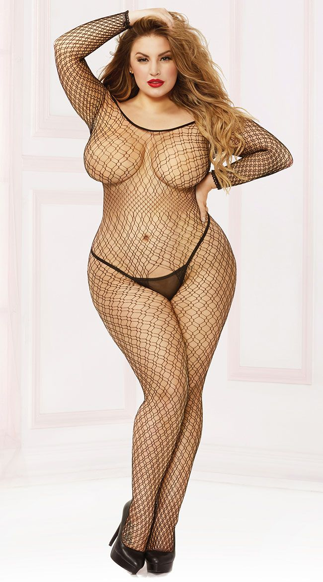 5ad796974c Plus Size Off-The-Shoulder Seamless Fishnet Bodystocking