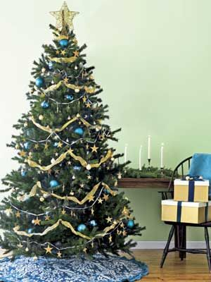 Christmas Tree Decorating Ideas  from countryliving.com      I like the color scheme on this one - blue and gold is very pretty together.  #christmas