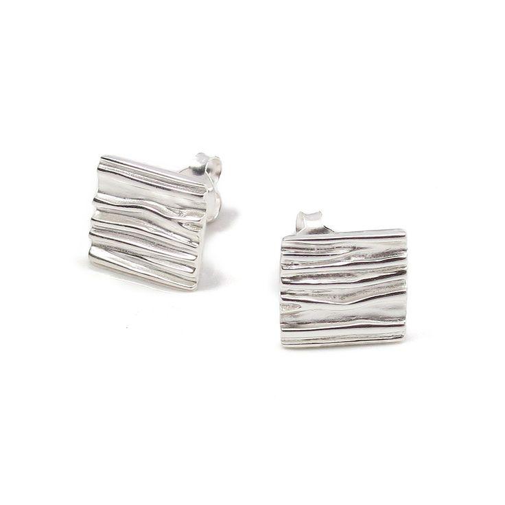 Cercei Vinani argint pătrățele creponate