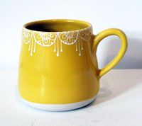 Hand-thrown mug- beautifully glazed. Could carve this design in, rather than glaze it?