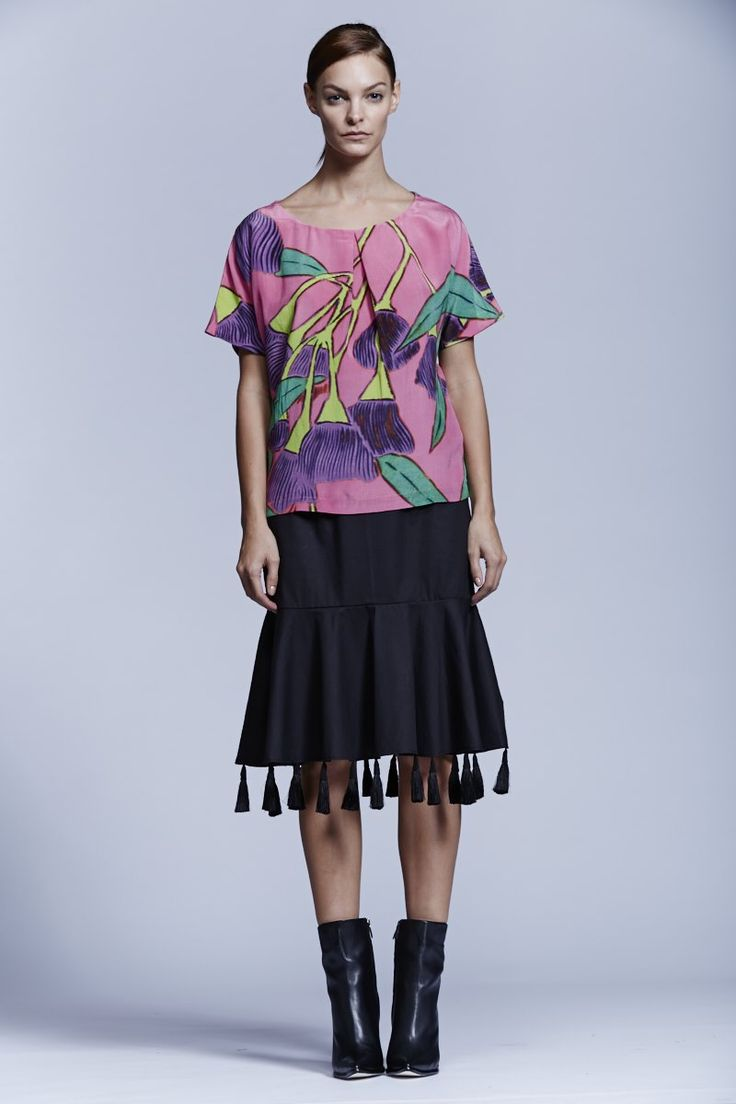 Native Flower Top and RP Peplum Tasselled Skirt. Roopa Pemmaraju Spring/Summer 2014/15, Urban Culture Collection. Artist: Reko Rennie (Top)