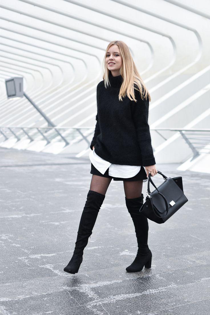 Cuissardes, knit oversize et short en suédine noir ♥