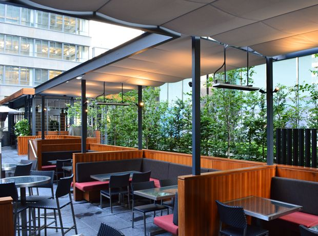 Retractable Canopies at The Keg on York | ShadeFX Canopies
