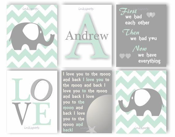 We Love You To The Moon And Back Nursery Art Print Set Grey /& Mint Elephants