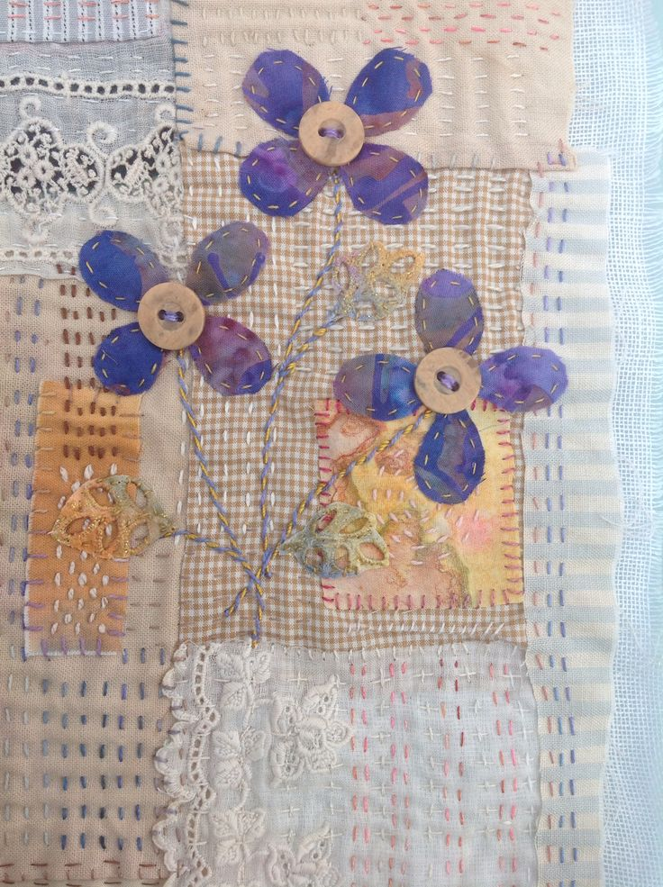 Detail of ongoing piece of  scraps embroidery hand stitched.Debbie Irving
