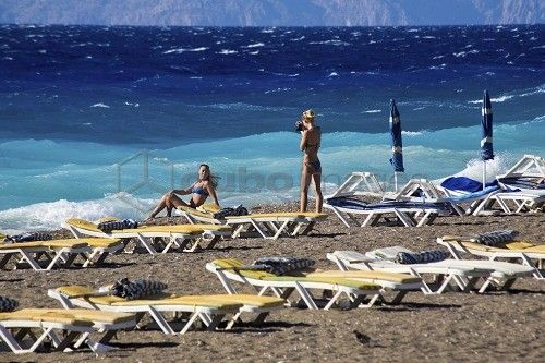 Beach, Rhodes, Dodecanese, Greek Islands, Greece