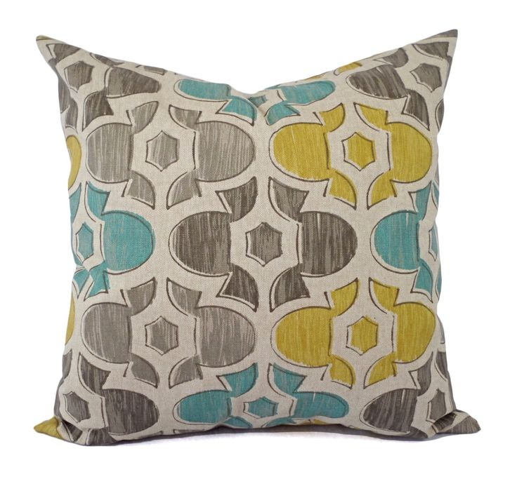 Brown Yellow and Blue Decorative Pillow Covers - Two Geometric Throw Pillow Covers - Yellow Pillow - Spa Blue Pillow - Brown Pillow Sham by CastawayCoveDecor on Etsy https://www.etsy.com/listing/119997378/brown-yellow-and-blue-decorative-pillow