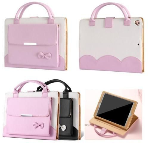 iPad Mini-All Sizes, Pro 9.7, Air 2 - Adorable Pink or Black/White Purse Bow Case