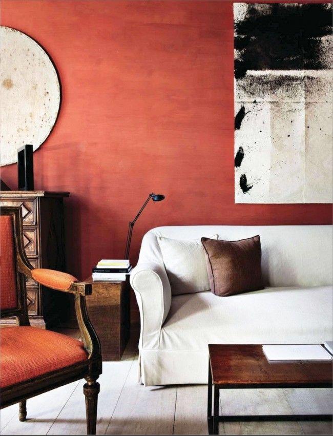 Покраска стен в терракотовый цвет придаст помещению индивидуальности