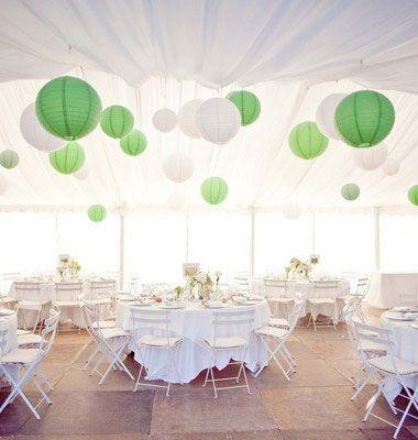 Illustrations d'idées de décorations de mariage pour un thème couleur vert eau et blanc, cette combinaison de couleur sera idéal pour un thème champêtre, ou printanier.