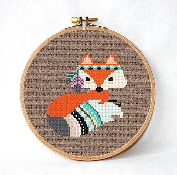 Fox dwarssteekpatroon fox pennen etnisch ontwerp Patroon van