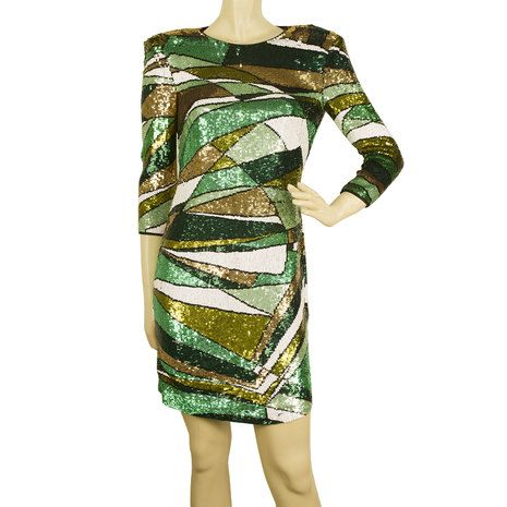 Emilio Pucci Green Ochre White Fully Sequined Evening Occasion Mini Dress