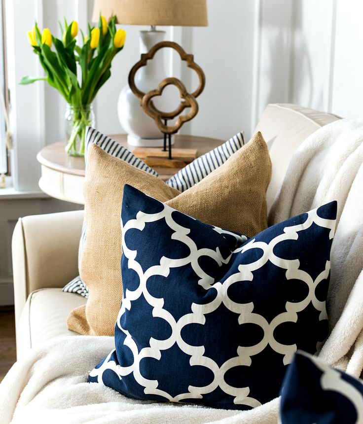 Spring Decor Ideas in Navy and Yellow - It All Started With Paint  Love the navy, bulap and ticking together!