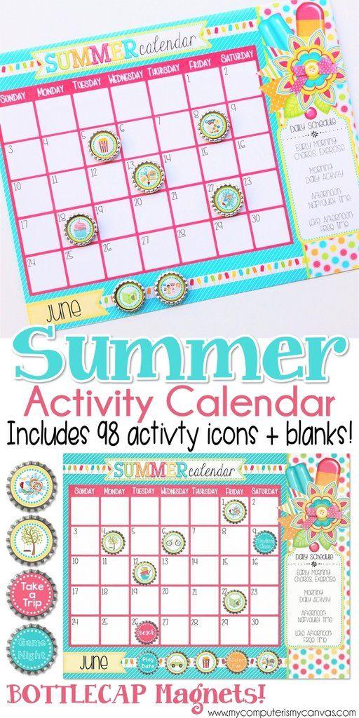 PRINTABLE Summer Activity Calendar, Summer Planner, Summer Boredom