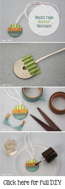 Washi Tape Washer Necklace- Sophie's World DIY: http://sophie-world.com/crafts/washi-tape-washer-necklace