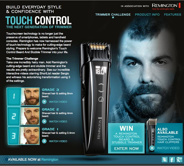 The new Remington touch control hair clippers. This microsite features video content and feature hotspots.