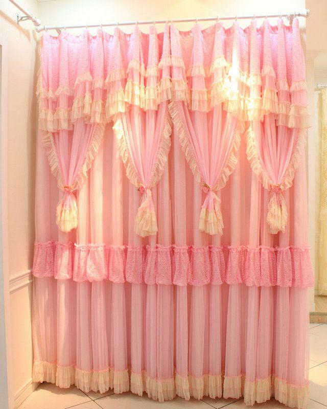 2 Панель Роскошные Корейский Шнурок Трепал детская Занавес Принцесса, на Заказ Девушки Шторы, розовые Шторы Для Гостиной