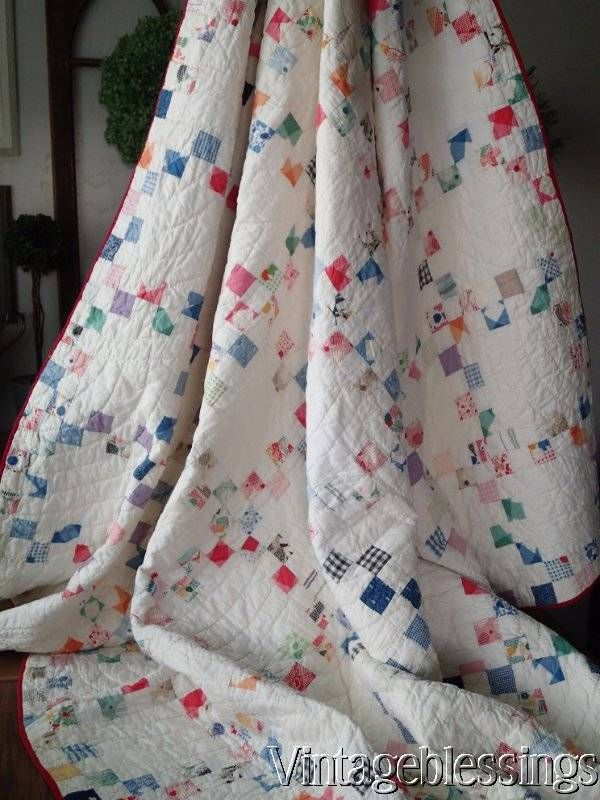 "Charming VINTAGE 1930s Postage Stamp Feedsack QUILT 70"" x 64"" www.Vintageblessings.com"