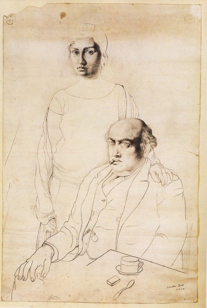Ana Maria Dali (sister) and father . by Salvador Dalí, 1925