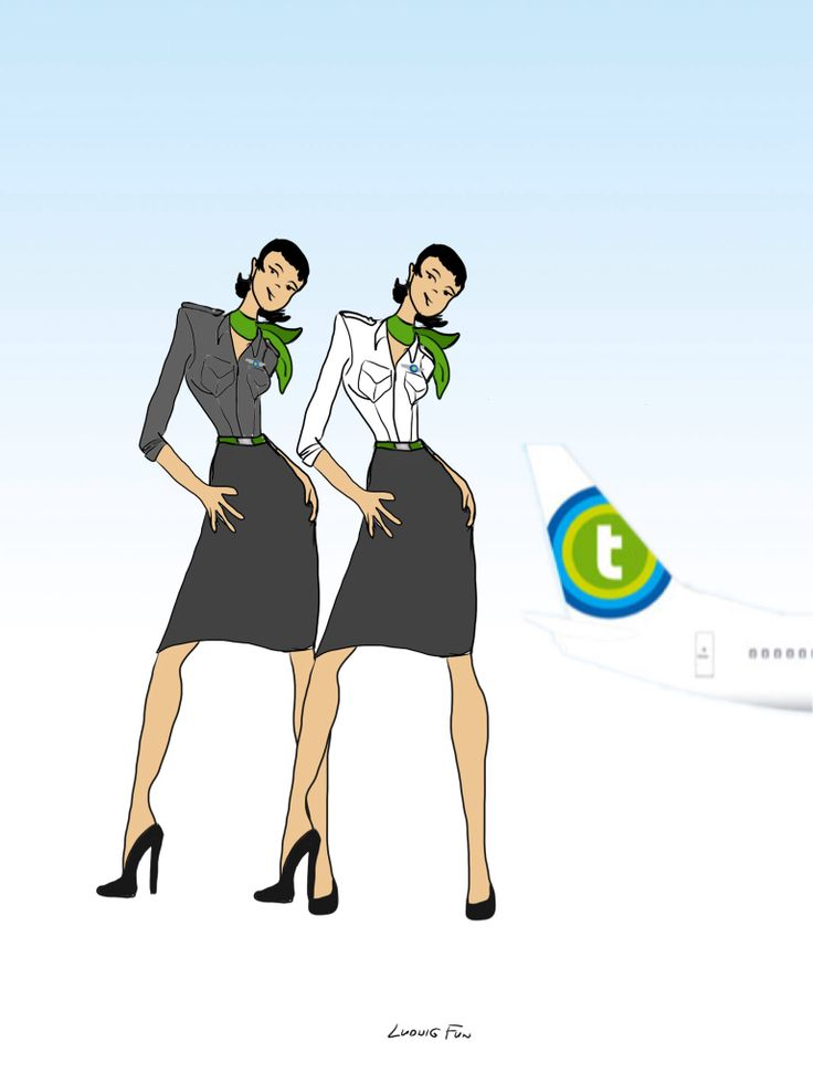 Design concept for transavia.com's upcoming new cabin crew uniforms. Two color variations on ladies' slim blouse and charcoal skirt combo.