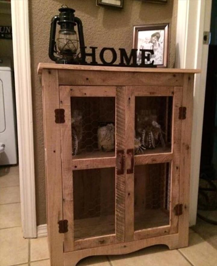 Pallet cabinet with wire mesh doors - 70+ Pallet Ideas for Home Decor | Pallet Furniture DIY - Part 6