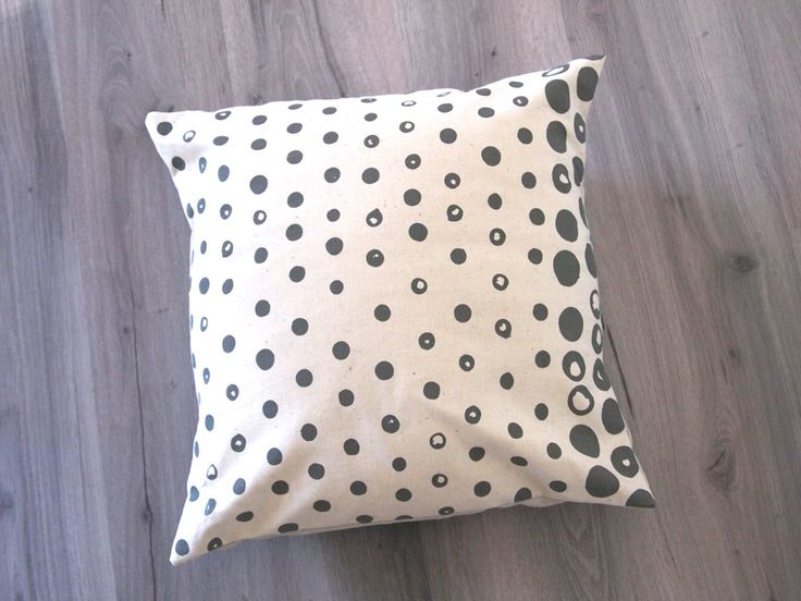 Dipped Dot Cushions Cover.  Grey on Natural.
