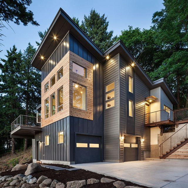 vertical vinyl siding exterior contemporary with accent lighting awning bridge cable rail canopy cedar clean. beautiful ideas. Home Design Ideas