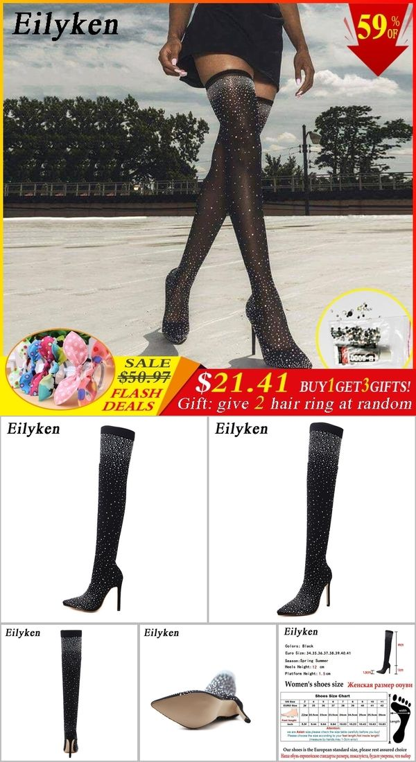 cbc678b7d57 Eilyken 2019 Fashion Runway Crystal Stretch Fabric Sock Boots Pointy Toe  Over-the-Knee Heel Thigh High Pointed Toe Woman Boot
