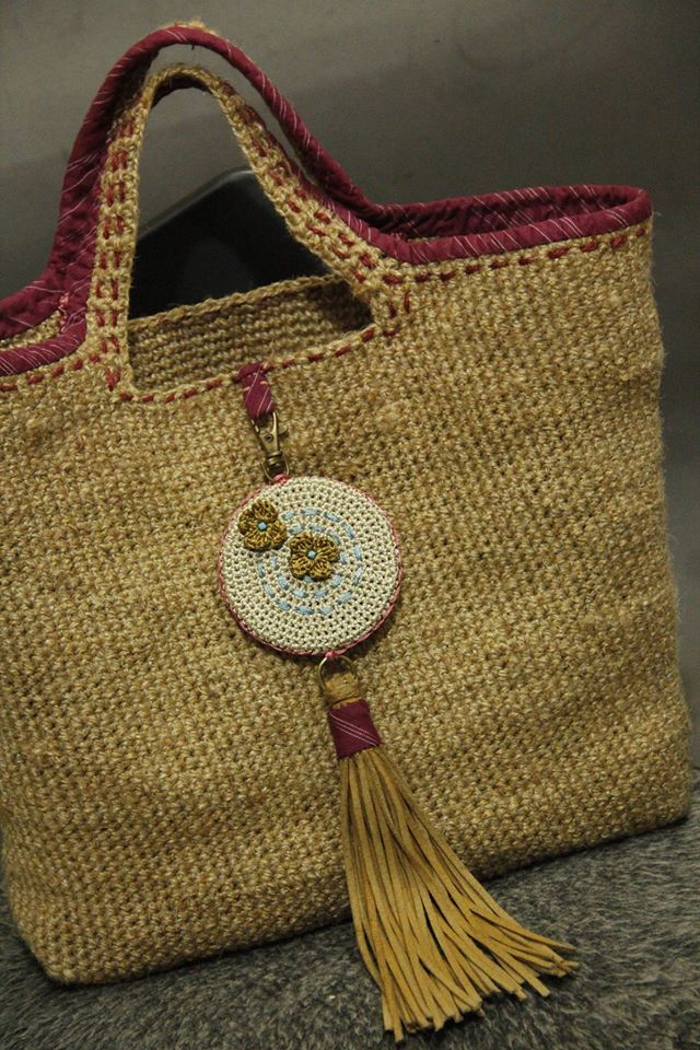 Jute fiber Crochet bag with genuine leather tassel #crochetbag #jute_fiber_bag…