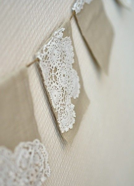 Vintage Doily Bunting - linen flags strung on jute twine, each flag measures 4x3 inches.