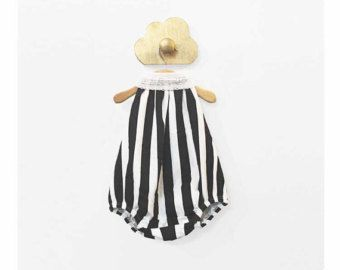 Blanco y negro de algodón orgánico a rayas bebé niña burbuja sin respaldo Enterizo - verticales rayas Halter mameluco Braga