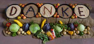 DANKE - der Inhalt des Erntedankfestes mit Früchten und Nüssen geschrieben Bild: Dan(k)iel Barth