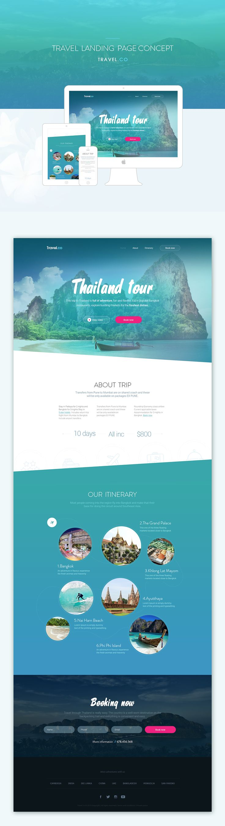 Travel landing page concept on Behance