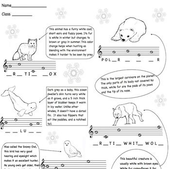 Everyone loves animals, and it is fun to practice musical concepts while also learning about animals that live in cold northern environments.  These coloring/worksheets not only reinforce note names in the treble clef, but also teach some interesting facts about animals that thrive in wintery weather. http://www.teacherspayteachers.com/Product/Music-Treble-Clef-Winter-Animals-ColorWorksheets-1591925