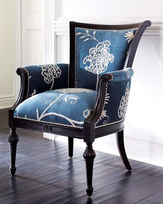 Crewel-print fabric-covered chair from Neiman Marcus. @Jane Phillips