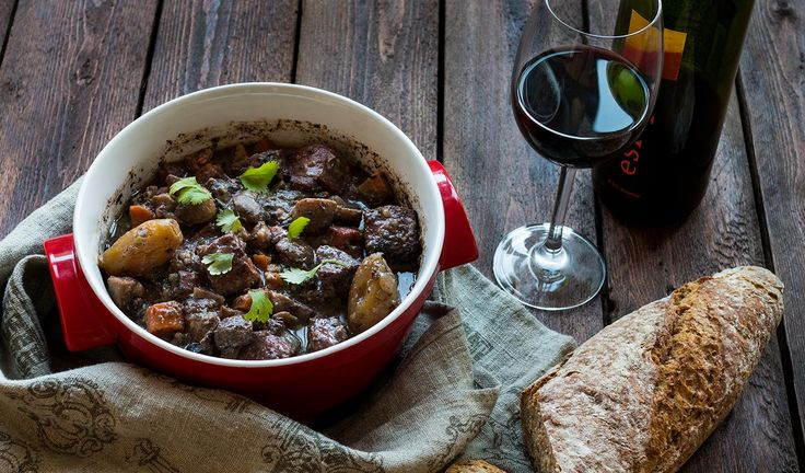 Boeuf bourguignon - French classical one pot dish. Beef slow cooked in red wine