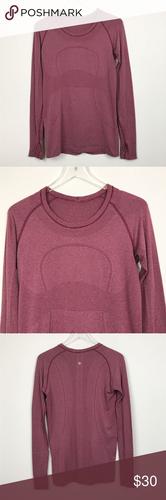"""[Lululemon] Striped Swiftly Tech Long Sleeve Shirt Soft, lightweight long sleeve top. Breathable and sweat-wicking. Crew neck. Thumbholes. Heathered Burgundy color. Has a subtle striped print.   🔹Pit to Pit: 17"""" 🔹Length: 27"""" 🔹Condition: Good pre-owned condition. Inner tag removed. Black mark on back of left elbow. Small hole repaired directly under spot. See photos for close up.  *WW22 lululemon athletica Tops Tees - Long Sleeve"""