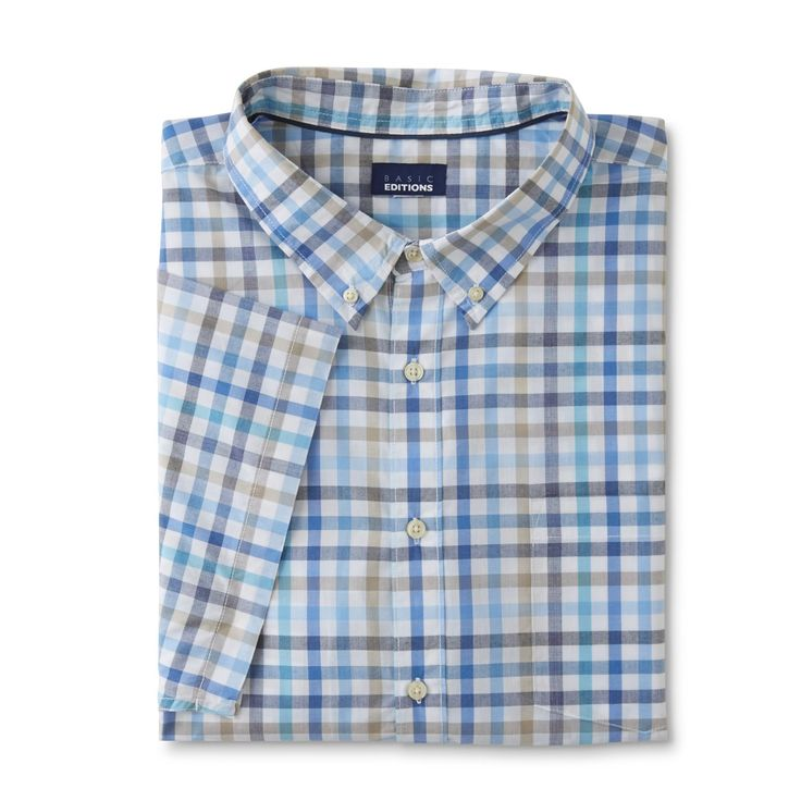 Basic Editions Men's Big & Tall Button-Front Shirt - Plaid, Plaza Taupe