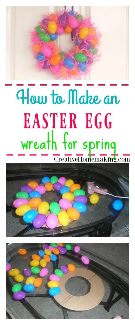 An easy, inexpensive Spring or Easter wreath you can make from plastic Easter eggs. #easter