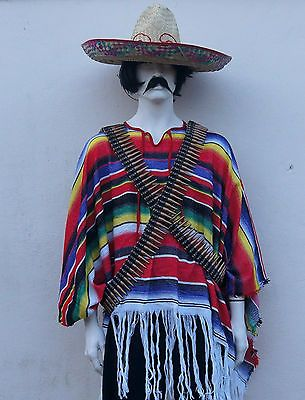 MEXICAN FANCY DRESS COSTUME ADULT STAG SOMBRERO PONCHO BULLET BELT CIGAR HAT