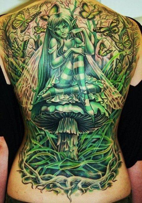 Incredible green #fairy full back #tattoo